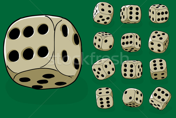 Set of old dices on green - vector illustration Stock photo © pzaxe