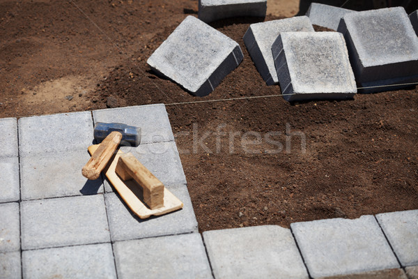 Trottoir construction travail outils bâtiment fond Photo stock © pzaxe