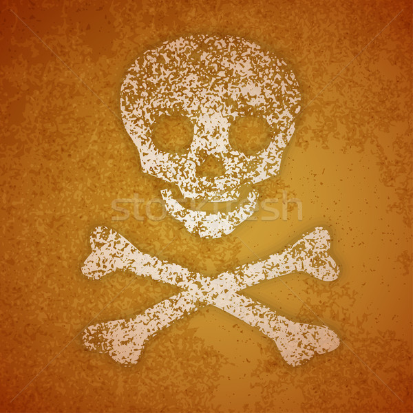Vector illustration - skull and crossbones on a wall Stock photo © pzaxe