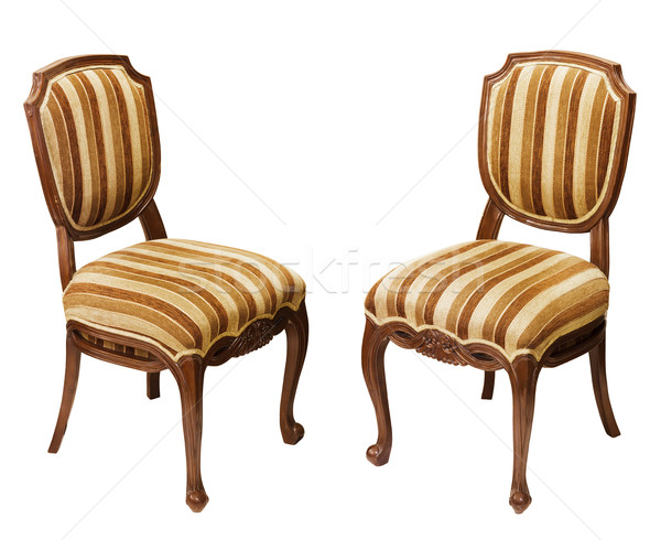 Antique wooden chairs isolated on white background Stock photo © pzaxe