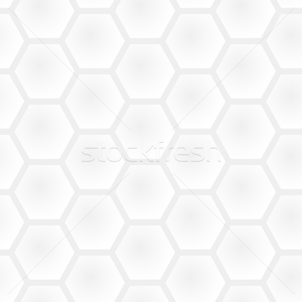 Stock photo: Vector seamless honeycomb light gray pattern - white and black s