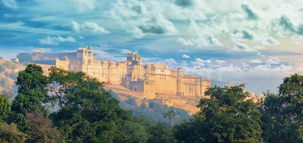 Индия Панорама янтарь форт город индийской Сток-фото © pzaxe