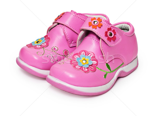 Shoes for little girl decorated with flowers Stock photo © pzaxe