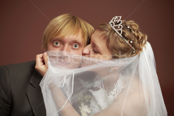 Funny bride and groom Stock photo © pzaxe