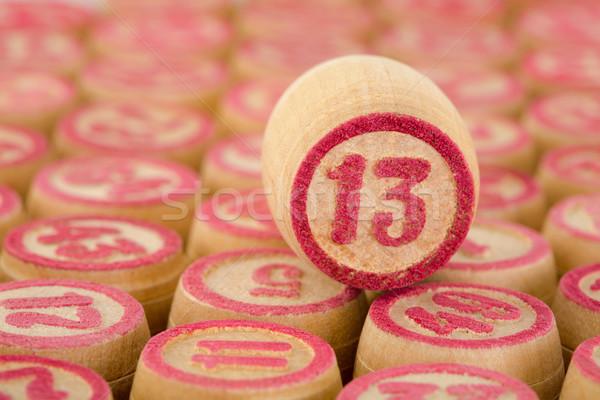 Pult bingó szám tizenhárom közelkép piros Stock fotó © pzaxe