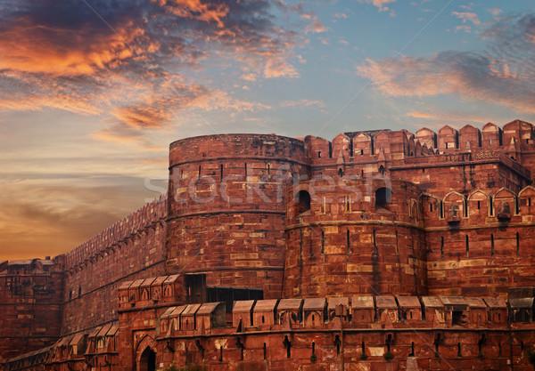 Индия красный форт древних крепость закат Сток-фото © pzaxe