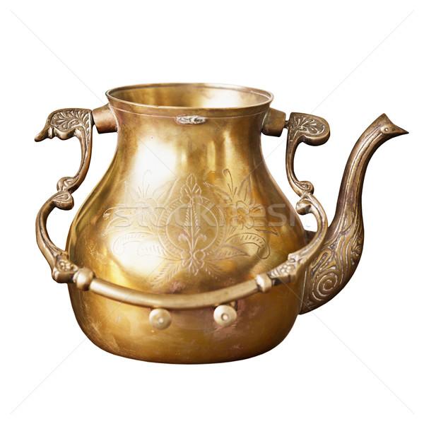 древних индийской медь чайник структур изолированный Сток-фото © pzaxe