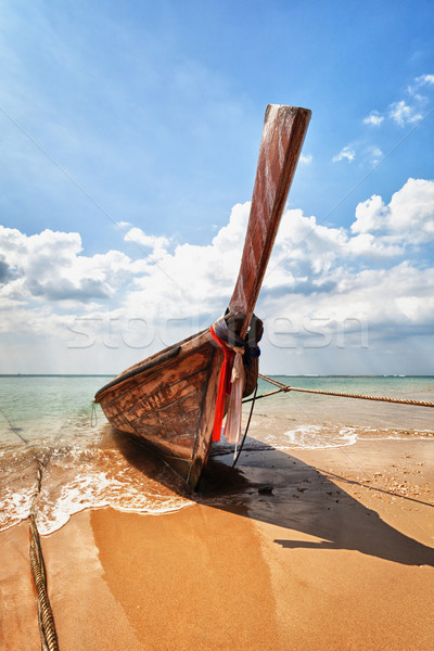 Holz traditionellen Boot Strand Thailand alten Stock foto © pzaxe