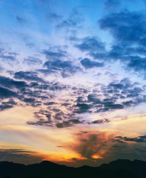 Foto stock: Puesta · de · sol · montanas · Tailandia · krabi · vertical · luz
