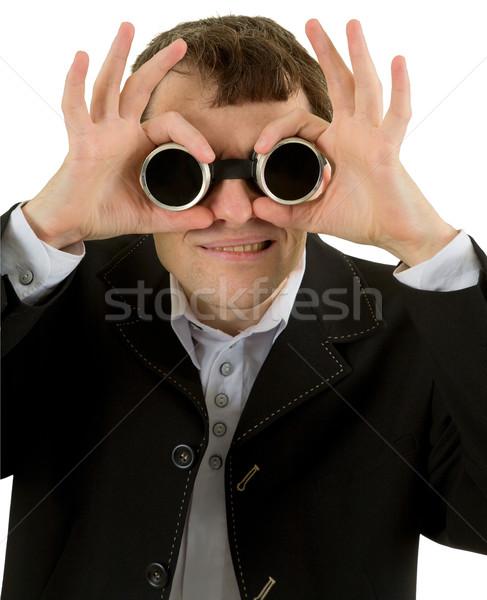 Divertente uomo saldatura occhiali bianco sfondo Foto d'archivio © pzaxe