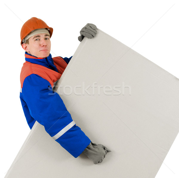 Operaio finestra casco bianco uomo blu Foto d'archivio © pzaxe