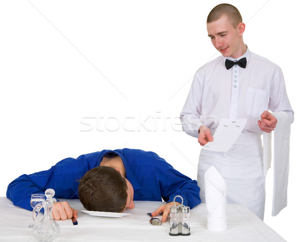 Waiter and drunk guest of restaurant Stock photo © pzaxe