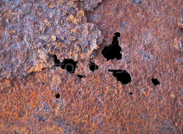 Steel rotten sheet with through corrosion Stock photo © pzaxe