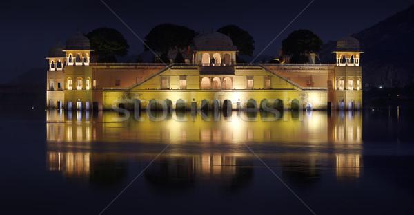 Stok fotoğraf: Göl · saray · gece · Hindistan · su · ışık