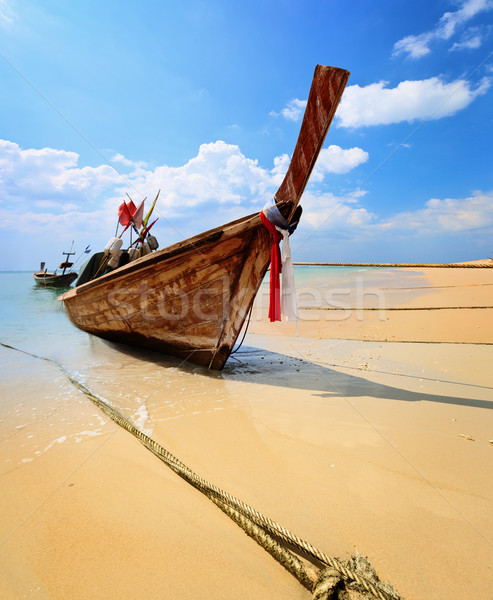 Traditional Thai longtail boat on beach Stock photo © pzaxe