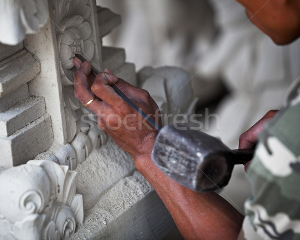 Master at work - stone carving Indonesia, Bali. Stock photo © pzaxe