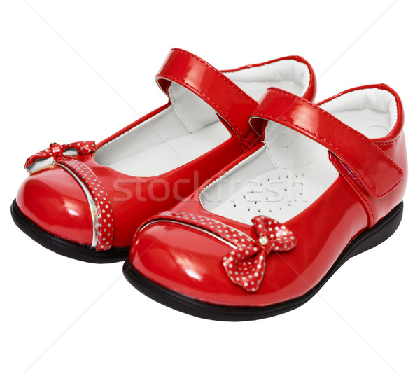Female red shoes on white background Stock photo © pzaxe