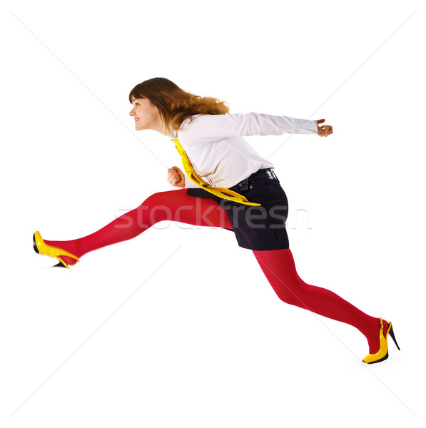 Business woman speeds up somewhere hurrying up Stock photo © pzaxe