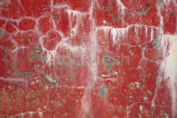Red dirty cracked wall background with stains Stock photo © pzaxe