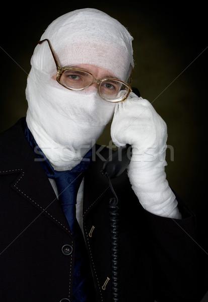 Férfi bandázs hív telefon szemüveg divat Stock fotó © pzaxe
