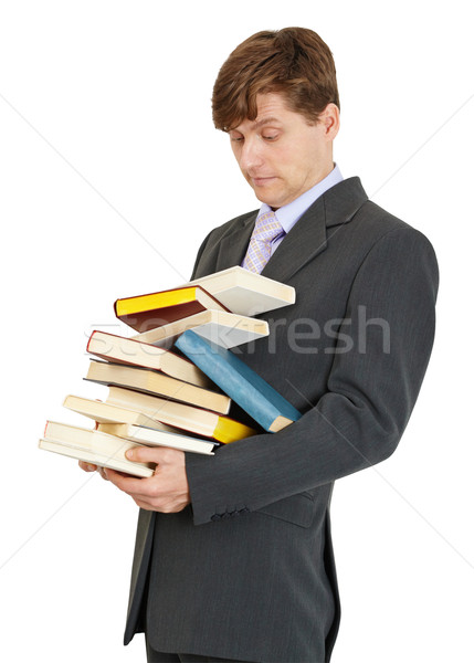 Student has great bunch of textbooks Stock photo © pzaxe