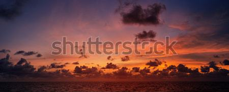 Picturesque beautiful view of sky at sunset over tropical ocean Stock photo © pzaxe