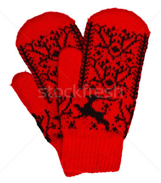 Woolen mittens on white background Stock photo © pzaxe