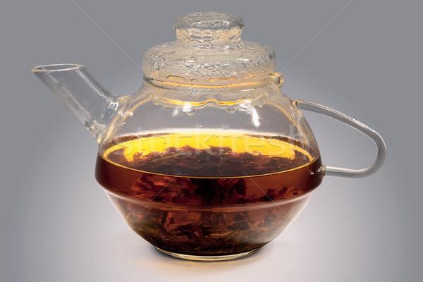 Glas theepot sterke thee grijs water Stockfoto © pzaxe