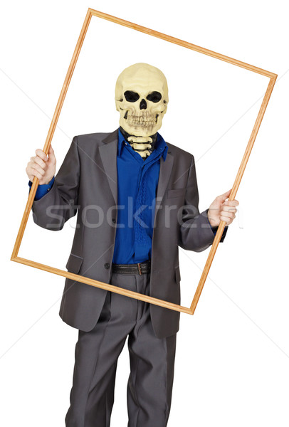 Man dressed as skeleton in wooden frame Stock photo © pzaxe