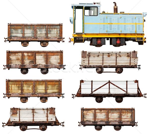 Establecer vintage locomotora coches aislado blanco Foto stock © pzaxe