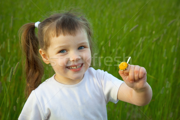 Little girl has torn off at chamomile all petals except one Stock photo © pzaxe
