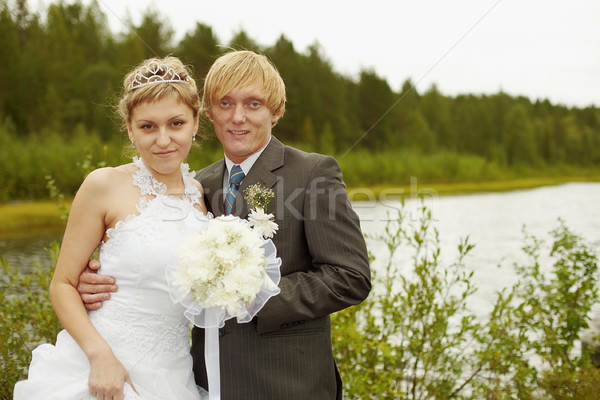 Portrait of newlyweds - outdoor Stock photo © pzaxe