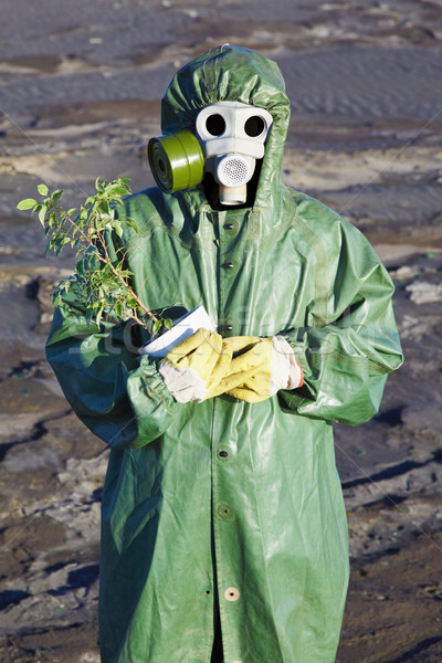 Scientific Environmentalist gently hugs a plant Stock photo © pzaxe