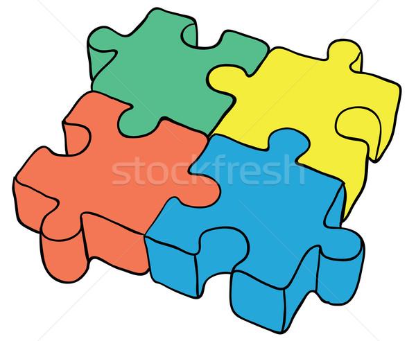 Puzzle on white background - vector illustration eps8 Stock photo © pzaxe