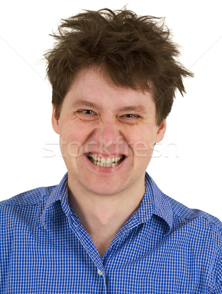 Dishevelled madman isolated on white background Stock photo © pzaxe