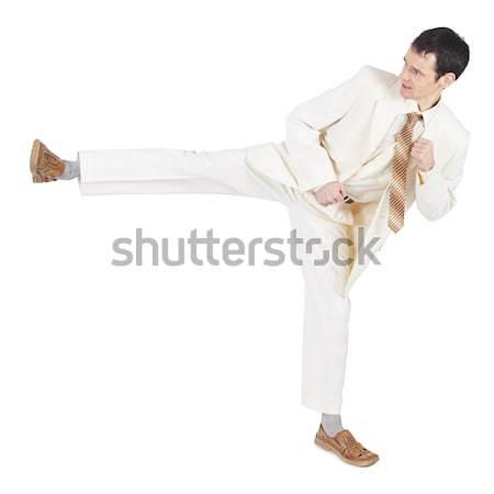 積極的な 若い男 光 スーツ 白 背景 ストックフォト © pzaxe