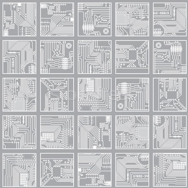 Seamless electronic pattern. Computer circuit board technology v Stock photo © pzaxe