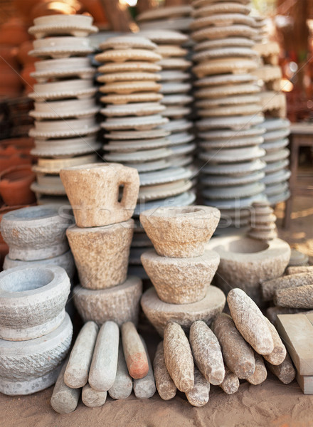 Pile of stone ware for sale. Open Market in Myanmar Stock photo © pzaxe