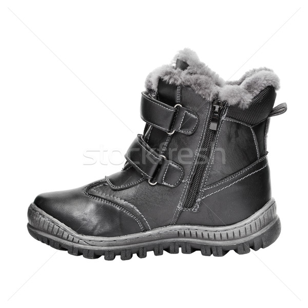 Shoes for a teenager made of black leatherette isolated on white Stock photo © pzaxe