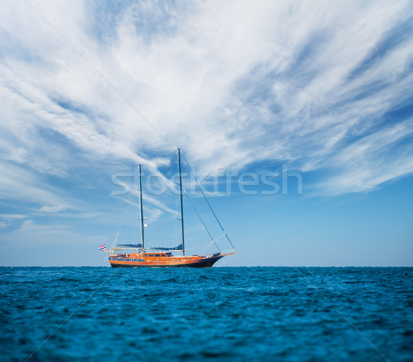 Wooden old ship on the high seas Stock photo © pzaxe