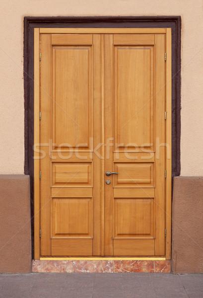 Belle contemporain bois porte modernes entrée Photo stock © pzaxe