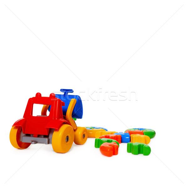 цвета пластиковых игрушку бульдозер изолированный белый Сток-фото © pzaxe