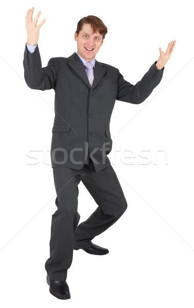 Businessman rejoices on white background Stock photo © pzaxe