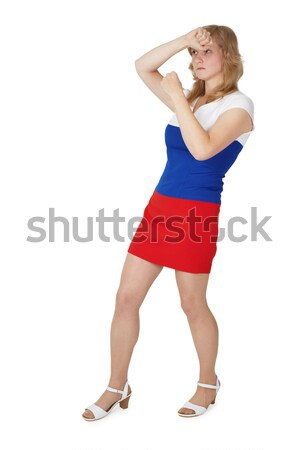 Young girl covers face with hands Stock photo © pzaxe