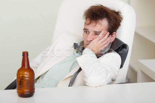 Młodych kac wakacje piwa biznesmen smutne Zdjęcia stock © pzaxe