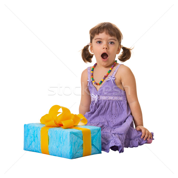 Little girl in shock from a large gift Stock photo © pzaxe