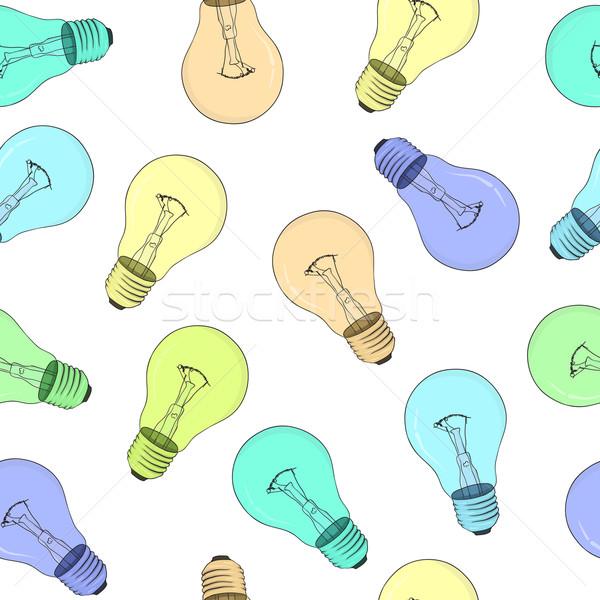 Seamless texture - light bulbs - vector eps8 Stock photo © pzaxe