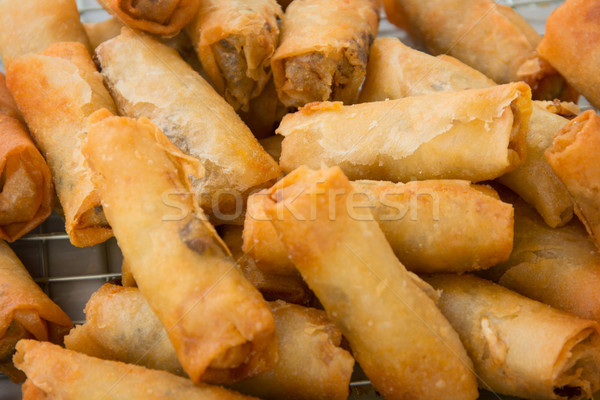 Spring rolls on the market close up Stock photo © pzaxe