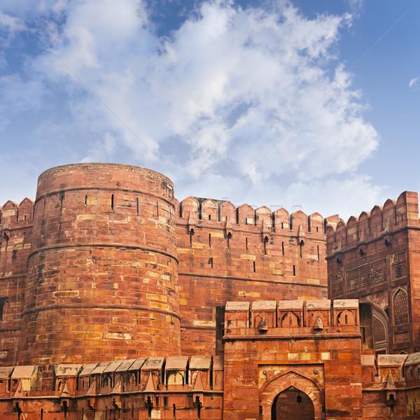 Muri antica rosso fort India cielo Foto d'archivio © pzaxe