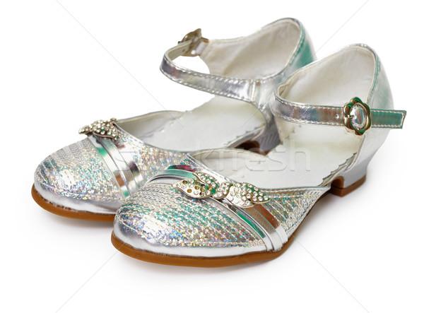 Güzel gümüş ayakkabı kız beyaz kızlar Stok fotoğraf © pzaxe